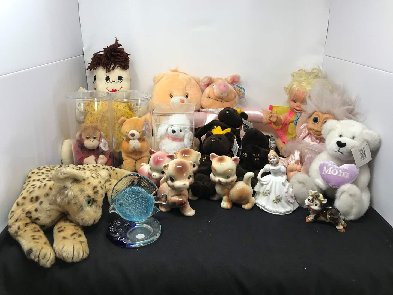 Lot # 153 - Lot of Stuffed Animals, Care Bear & Ceramic Figurines  (main image)