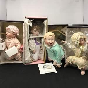 Lot # 154 - 4 Knowels Porcelain Dolls