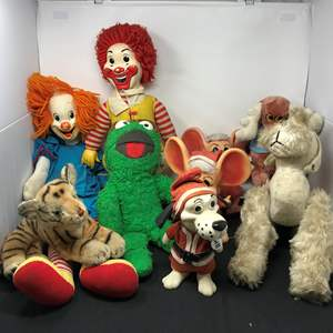 Lot # 155 - Stuffed Bozo The Clown, Ronald McDonald, Oscar The Grouch & More