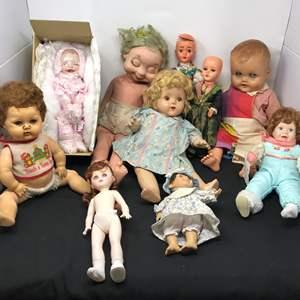 Lot # 176 - Vintage Plastic Dolls & 2 Porcelain Dolls
