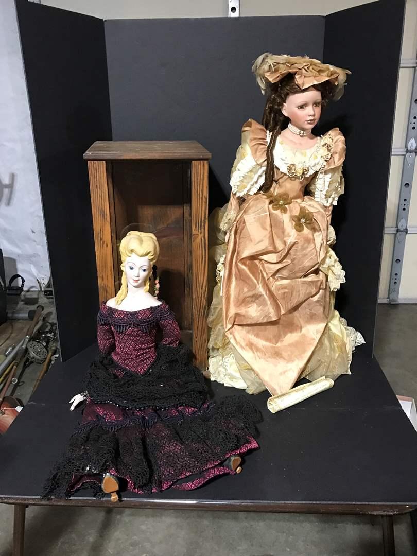 Lot # 178 - Two Large Porcelain Dolls & Display Case  (main image)