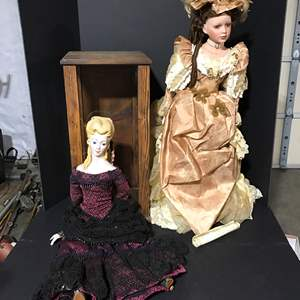 Lot # 178 - Two Large Porcelain Dolls & Display Case