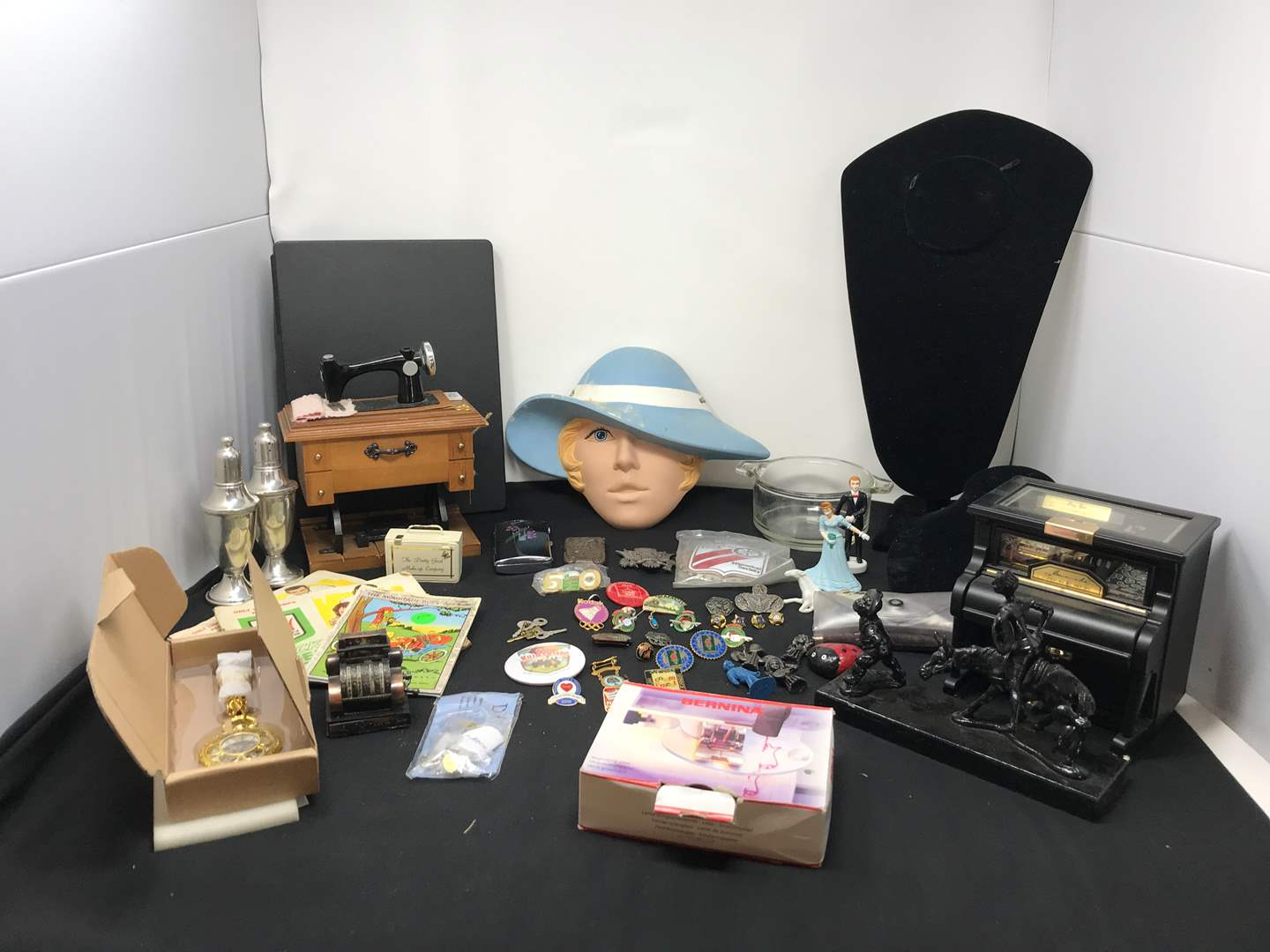 Lot # 181 - Small Lot of Pins, Jewelry Stands, Pocket Watch Pen Set & Figurines  (main image)