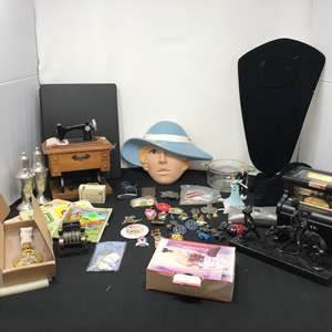 Lot # 181 - Small Lot of Pins, Jewelry Stands, Pocket Watch Pen Set & Figurines