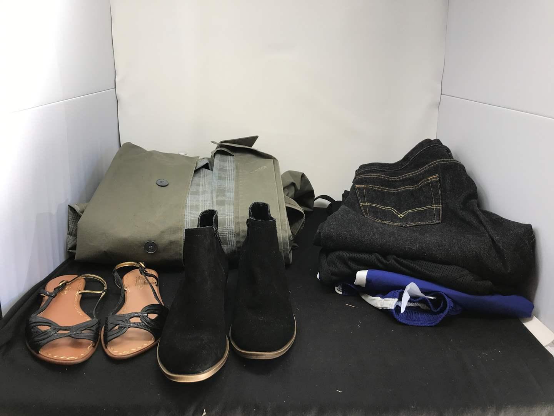 Lot # 183 - Men's Trench Coat, Levi's & 2 Pairs of Women's Shoes  (main image)