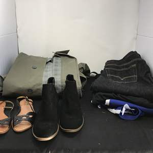 Lot # 183 - Men's Trench Coat, Levi's & 2 Pairs of Women's Shoes