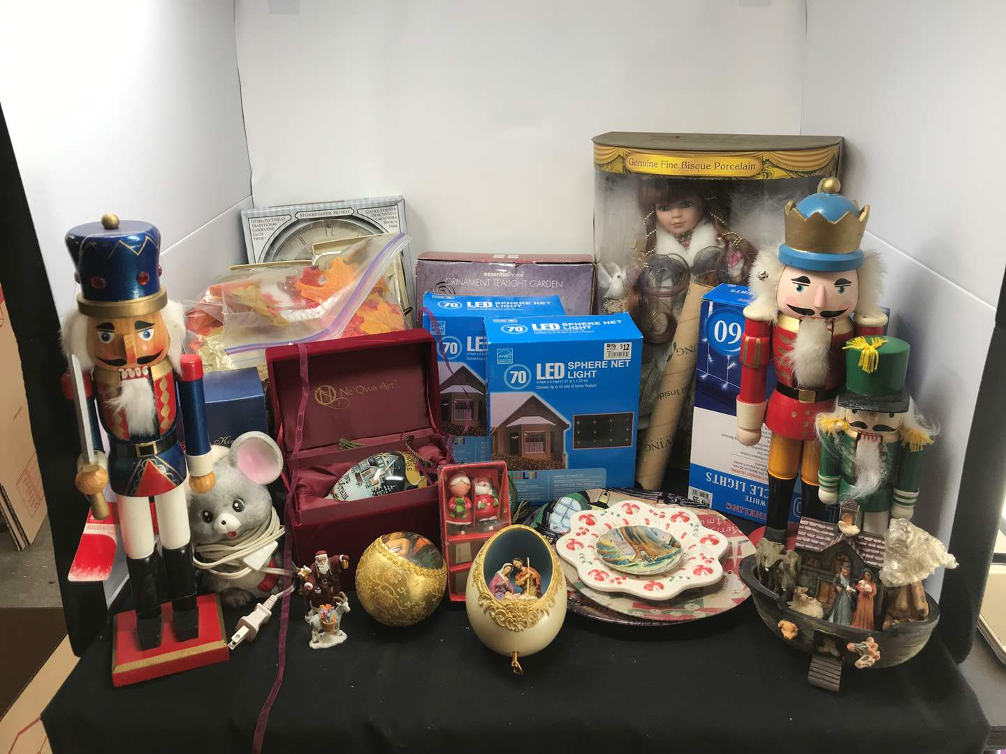 Lot # 210 - Lot of Christmas Items, Porcelain Doll, Outdoor Lights & More (main image)