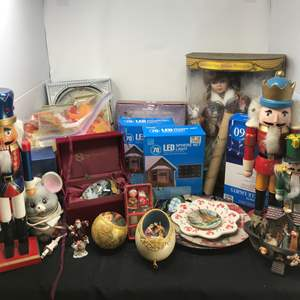 Lot # 210 - Lot of Christmas Items, Porcelain Doll, Outdoor Lights & More