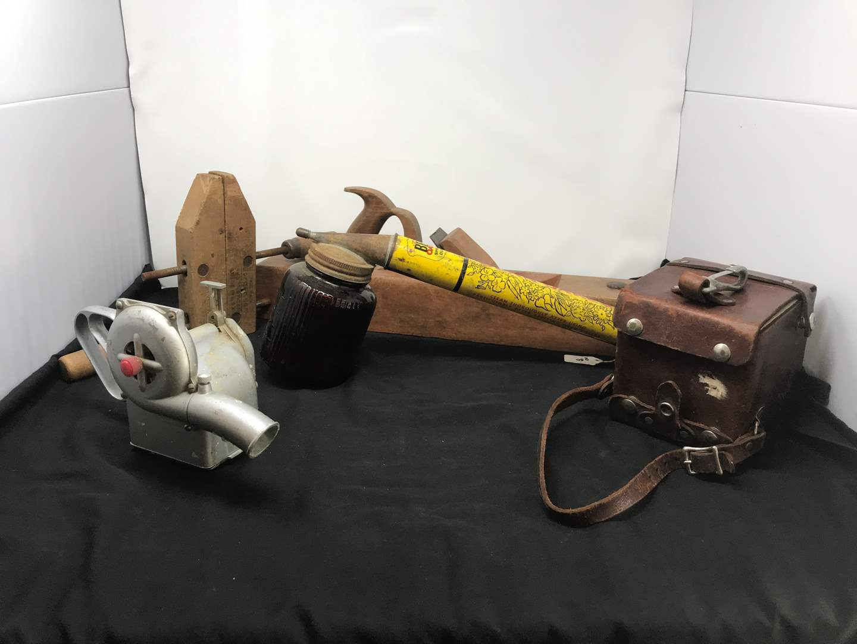 Lot # 220 - Antique Hand Plane, J&P Midget Duster, Bean Oakes Sprayer, Jorgenson Wood Clamp, U.S. West Busy Boy (main image)