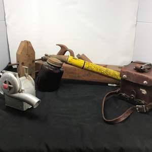 Lot # 220 - Antique Hand Plane, J&P Midget Duster, Bean Oakes Sprayer, Jorgenson Wood Clamp, U.S. West Busy Boy
