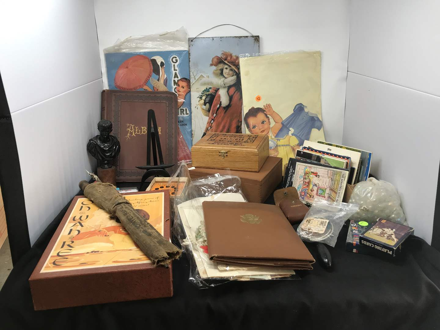 Lot # 224 - Odds & Ends: Gun Cleaning Tools, Postcards, Game & More (main image)