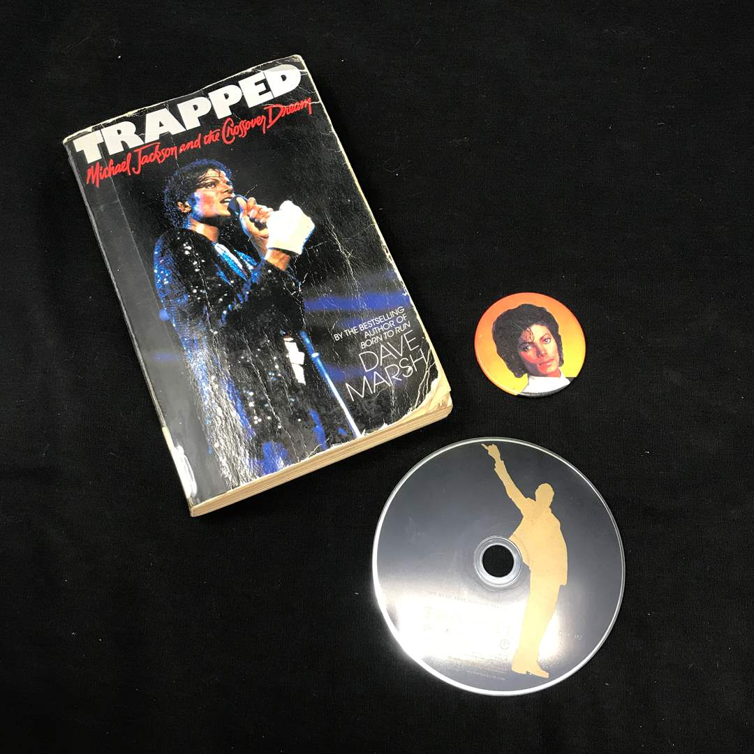 Lot # 227 - Trapped Michael Jackson And The Crossover Dream By David Marsh, Pin & Michael Jackson This Is It Movie (main image)