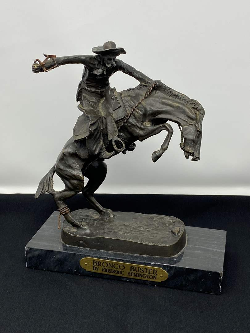 """Lot # 1 - Fredric Remington's Signed  """"Bronco Buster"""" Bronze (The Same one that sits in the White House Oval Office) (main image)"""