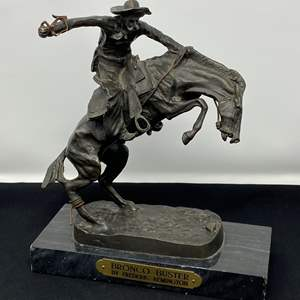 """Lot # 1 - Fredric Remington's Signed  """"Bronco Buster"""" Bronze (The Same one that sits in the White House Oval Office)"""