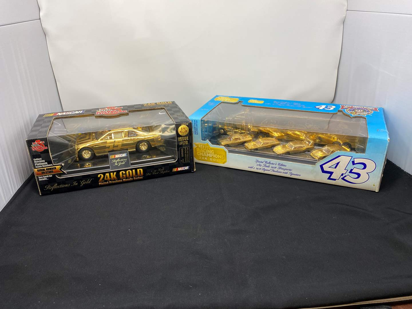 Lot # 5 - Michael Waltrip 24k Gold Plated Diecast Car, Richard Petty 24k Gold Plated Limited Edition Diecast Collection (main image)