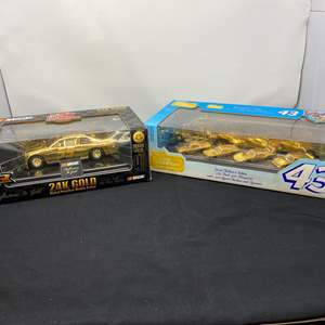 Lot # 5 - Michael Waltrip 24k Gold Plated Diecast Car, Richard Petty 24k Gold Plated Limited Edition Diecast Collection