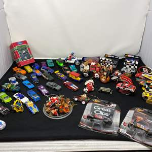 Lot # 9 - Hot Wheels, Matchbox Cars, Nascar Xmas Ornaments & More
