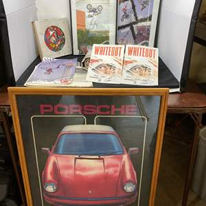 Lot # 10 - Signed Motocross Photos, Vintage Banner w/ Car Photos, Dave Allison Collectors Nascar Plate & More