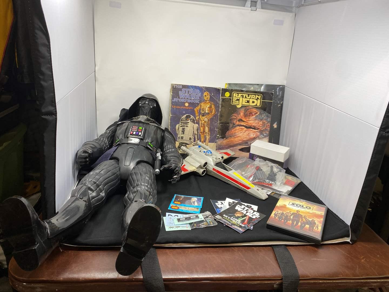 Lot # 44 - Vintage Star Wars X-Wing Fighter, Star Wars Books, Large Darth Vador, & Other Star Wars Memorabilia  (main image)