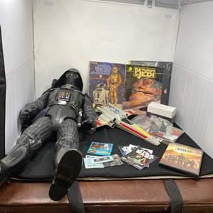 Lot # 44 - Vintage Star Wars X-Wing Fighter, Star Wars Books, Large Darth Vador, & Other Star Wars Memorabilia