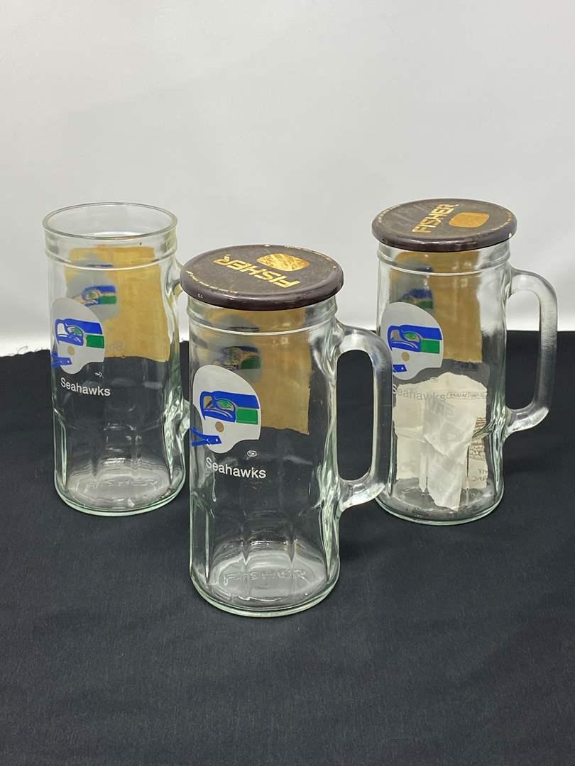 Lot # 50 - Three Vintage Fisher Peanuts Glass Seahawks Mugs (main image)