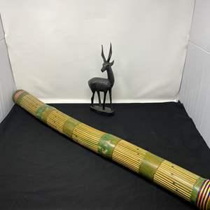 Lot # 54 - Wood African Antelope Sculpture, Large Rain Stick