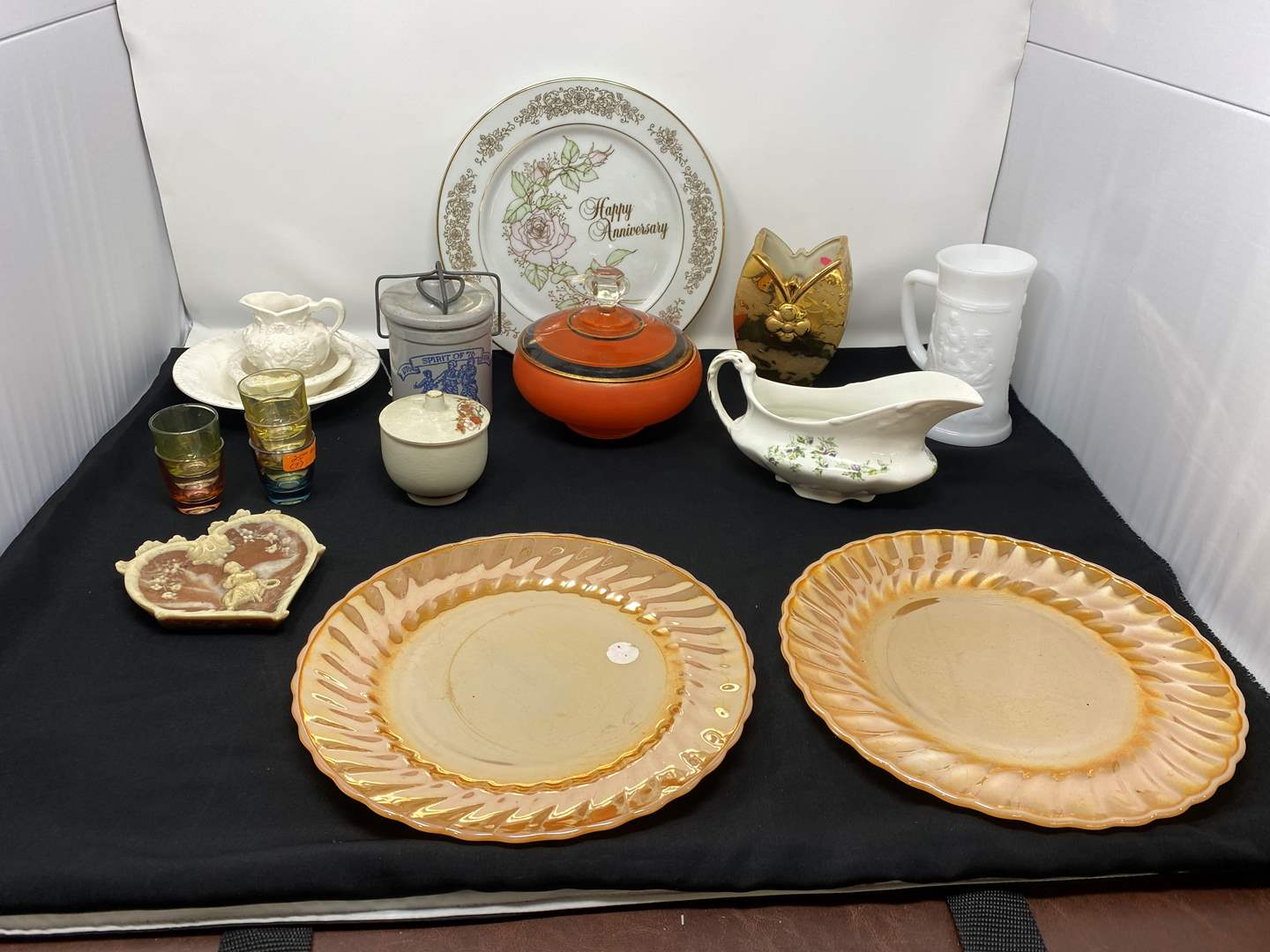 Lot # 55 - Vintage Pieces of China & Decor, Two Fire King Dinner Plates & More (main image)