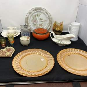 Lot # 55 - Vintage Pieces of China & Decor, Two Fire King Dinner Plates & More