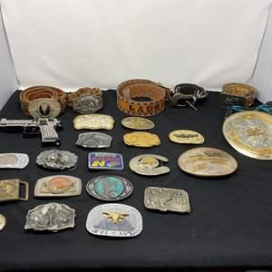 Lot # 60 - Nice Collection of Vintage Belt Buckles & Belts