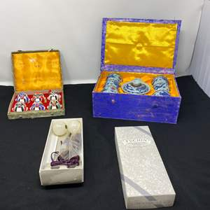 Lot # 64 - Small Asian Tea Set, Small Asian Ceramic Masks, Onyx Tassels