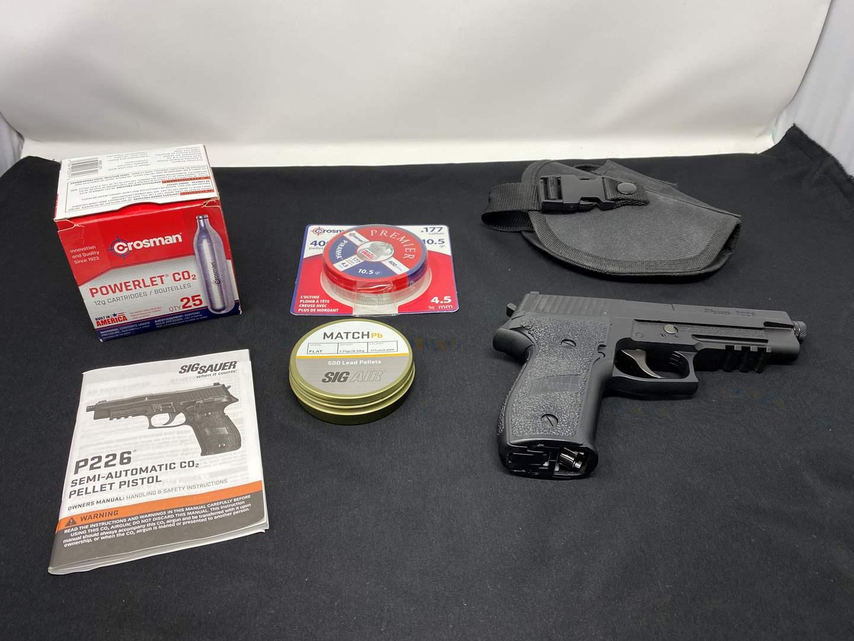 Lot # 70 - Sig Saver P226 Semi-Automatic Co2 Pellet Pistol w/ Pellets, Co2 Cartridge's, & 3 Clips (main image)