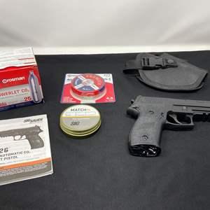 Lot # 70 - Sig Saver P226 Semi-Automatic Co2 Pellet Pistol w/ Pellets, Co2 Cartridge's, & 3 Clips