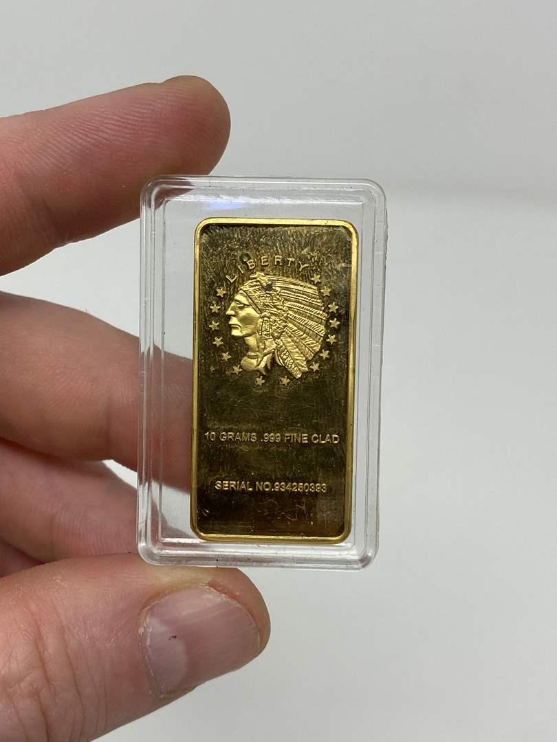 Lot # 72 - Ten Gram .999 Fine Clad Gold Plated Bar (main image)