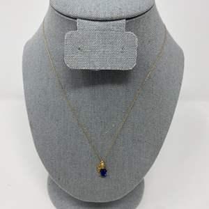 Lot # 80 - 10k Gold Necklace w/ 10k Gold Sapphire Pendant