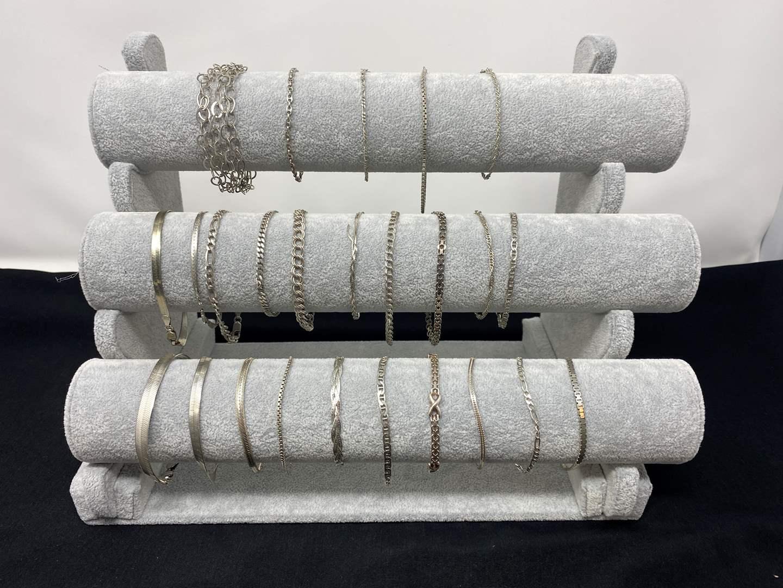 Lot # 88 - Twenty-Five Sterling Silver Bracelets - (Stamped .925 - 102 grams total) (main image)