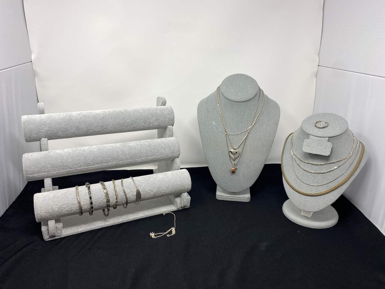 Lot # 89 - Sterling Silver Necklaces & Bracelets - (Stamped .925 - 115 Grams) (main image)