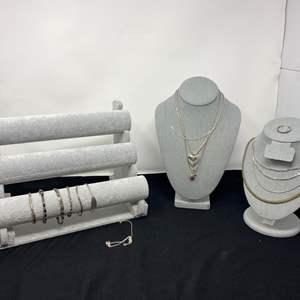 Lot # 89 - Sterling Silver Necklaces & Bracelets - (Stamped .925 - 115 Grams)