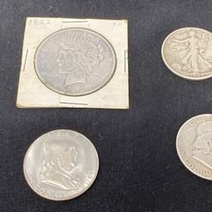 Lot # 97 - 1922 Peace Dollar, 1943 Walking Liberty Half Dollar, '48 & '51 Franklin Half Dollars