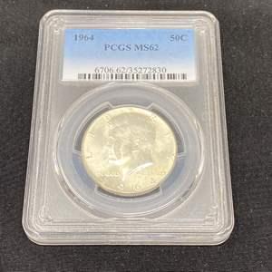 Lot # 98 - 1964 PCGS MS62 Kennedy Half Dollar