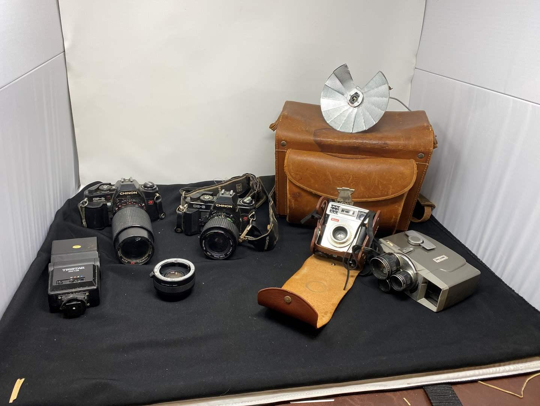 Lot # 125 - Vintage Chinon CP-5 Camera, Chinon CE-5 Camera, Vintage Kodak Starmatic Camera & More  (main image)