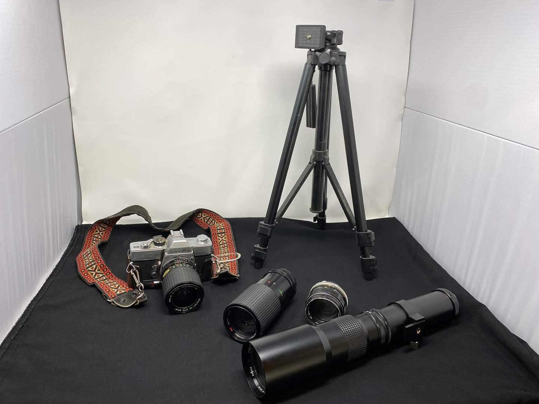 Lot # 129 - Vintage Minolta SRT101 Camera w/ Lenses, Tripod & Case (main image)