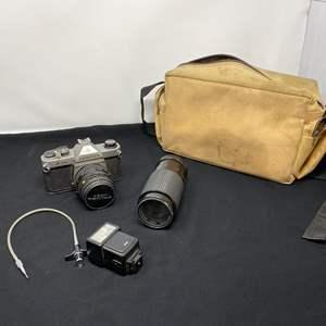 Lot # 130 - Vintage Pentax K1000 camera w/ Lens & Case