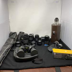 Lot # 133 - Collection of Vintage Camera Lenses, Camera Accessories, Bushnell Binoculars.