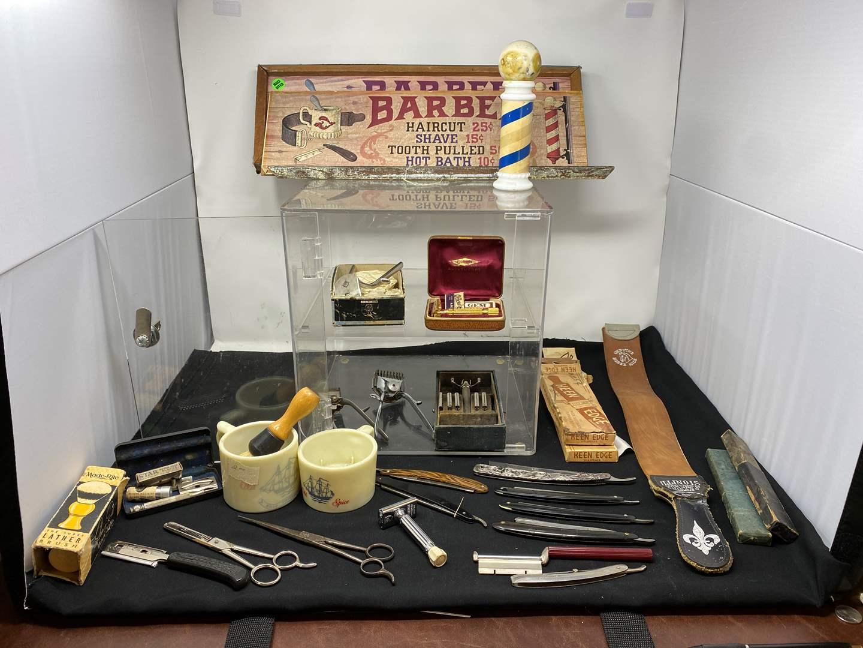 Lot # 137 - Vintage Barbershop Items: Razors, Brushes, Scissors, Leather Straps, Display Case, & More  (main image)