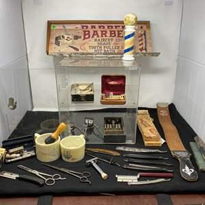 Lot # 137 - Vintage Barbershop Items: Razors, Brushes, Scissors, Leather Straps, Display Case, & More