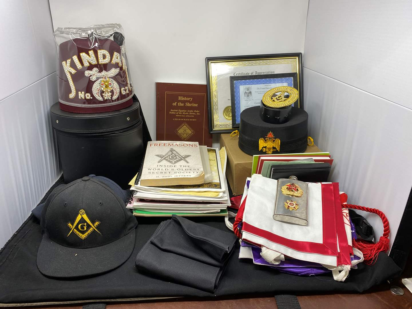 Lot # 142 - Great Collection of Freemasons Hats, Books, Aprons, Flask, & More (main image)