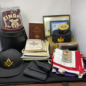 Lot # 142 - Great Collection of Freemasons Hats, Books, Aprons, Flask, & More