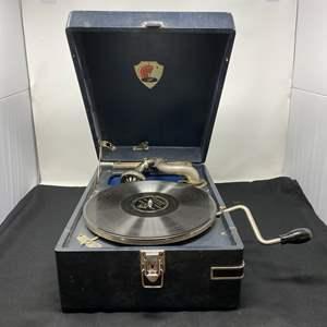 "Lot # 159 - Vintage ""Monot"" Suitcase Victrola - (Works Great)"