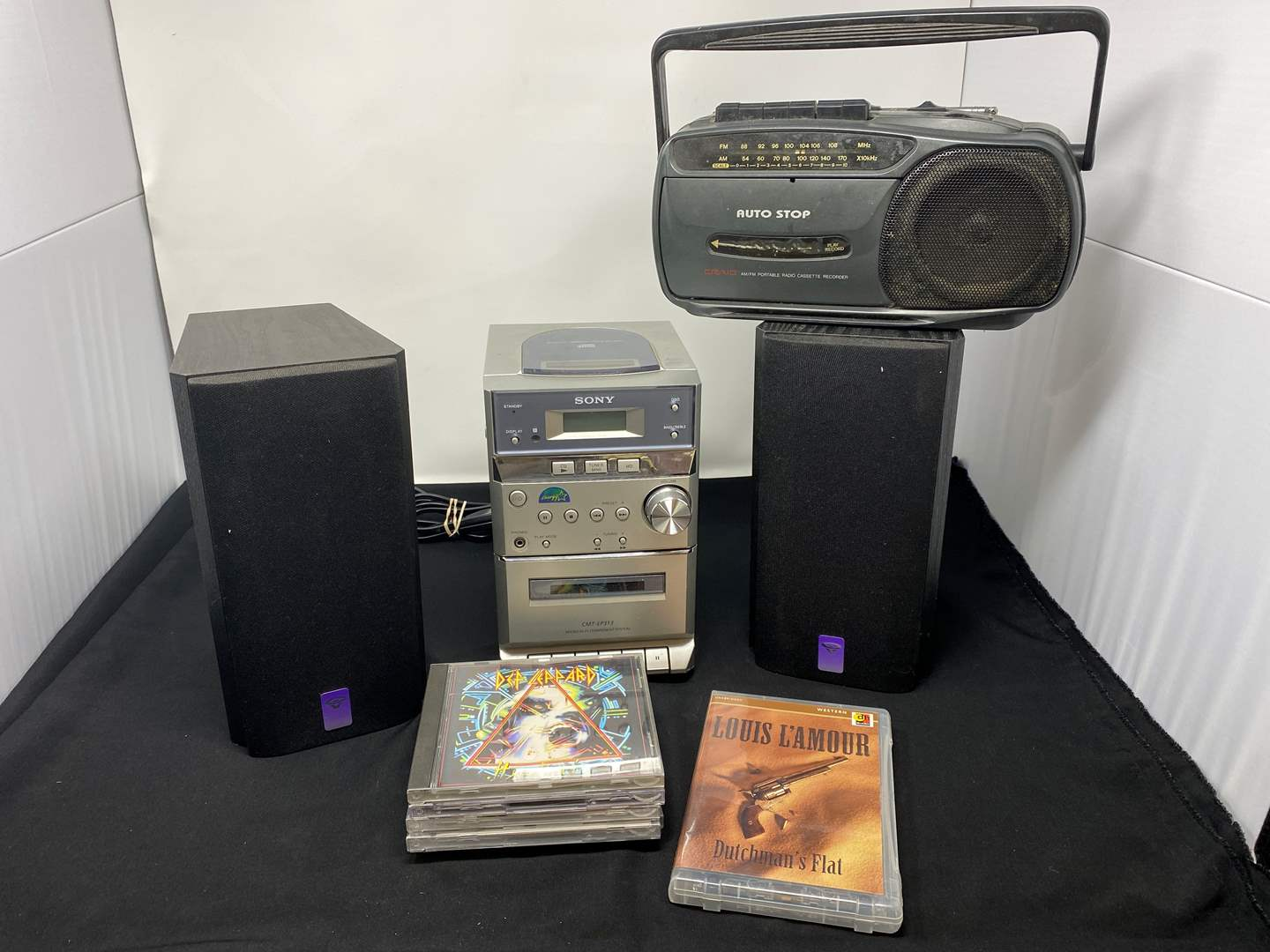Lot # 163 - Sony CD Player w/ Two Cerwin Vega Speakers, CD's, & Small Boombox  (main image)