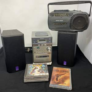 Lot # 163 - Sony CD Player w/ Two Cerwin Vega Speakers, CD's, & Small Boombox
